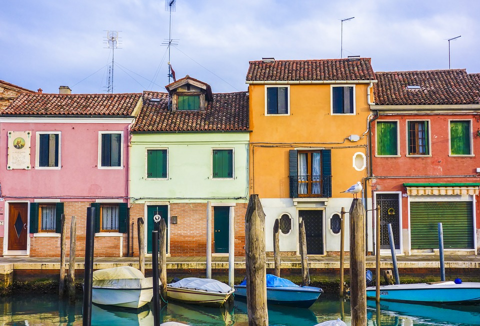 colourful houses, homes, boats