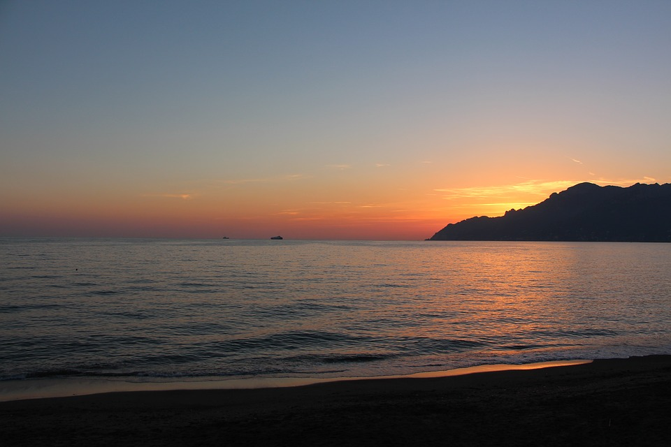 sunset, amalfi coast, salerno