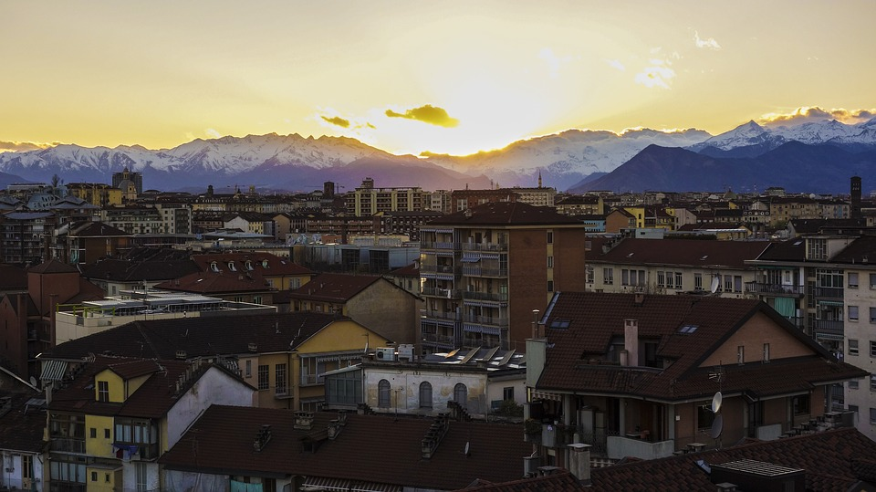 turin, view, sunset