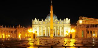 st.peter's square at night