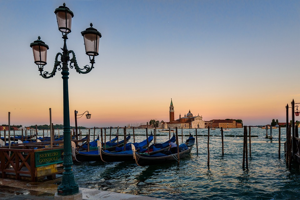 venice, gondola, sunset