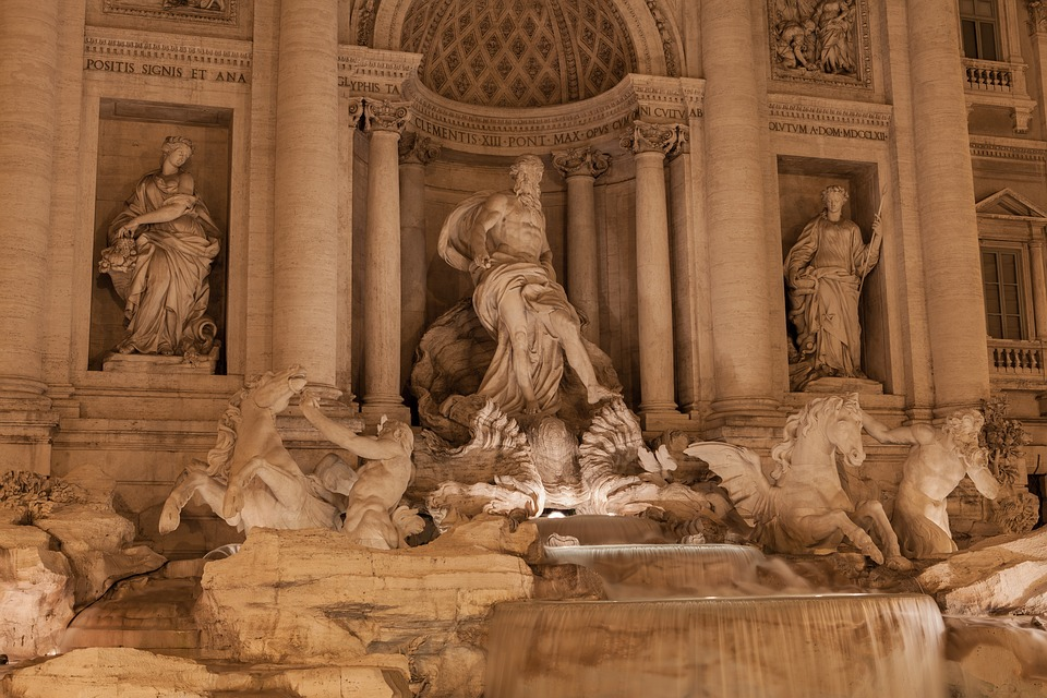architecture, trevi fountain, art