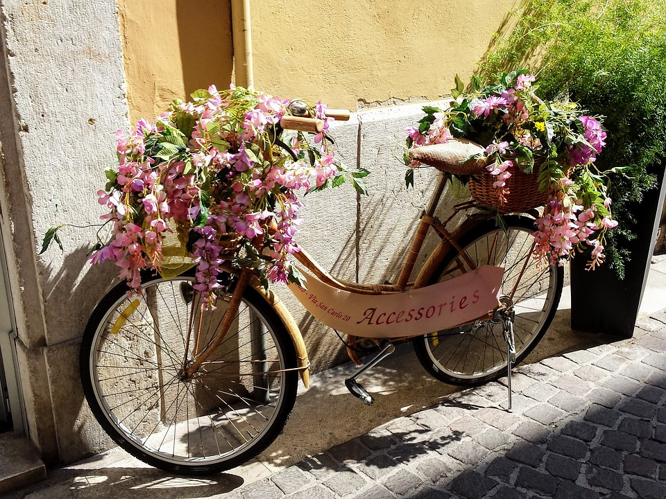 bicycle, flowers, italy