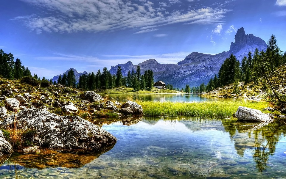 dolomites, mountains, lake