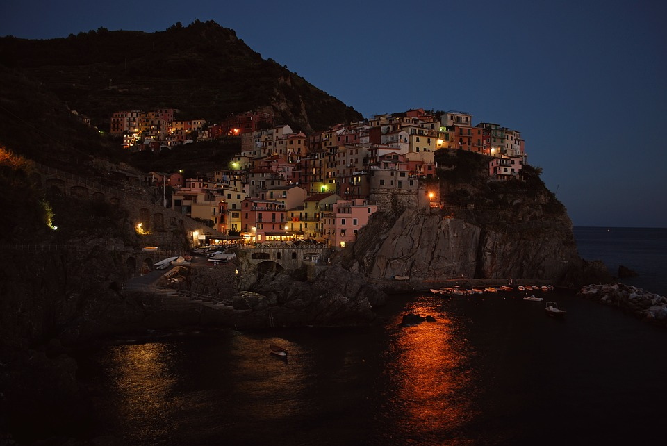 seaside, cinque terre, night