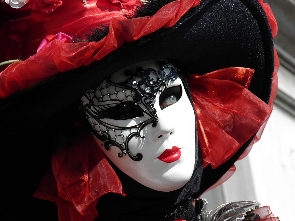 venice, mask, red