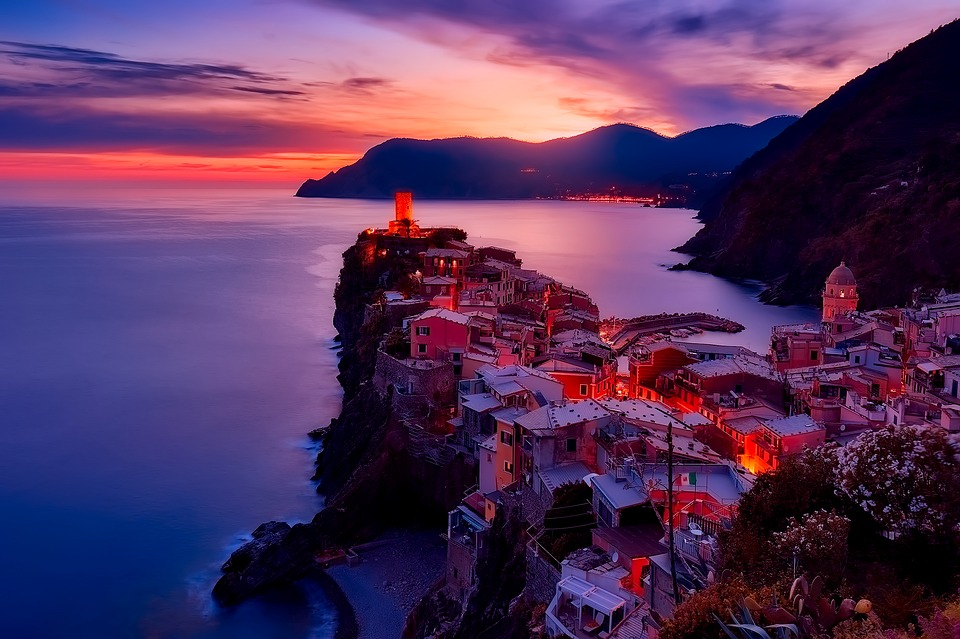vernazza, italy, sunset
