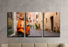 Old City Street with Motorbike in Rome, Italy